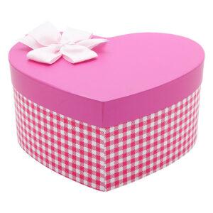 hộp quà trái tim hồng đậm caro