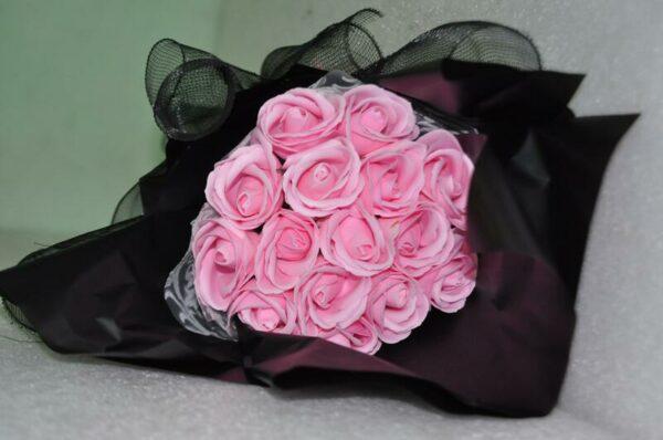Hoa hồng sáp thơm 15 bông màu hồng