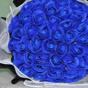 Hoa hồng sáp thơm 50 bông màu xanh